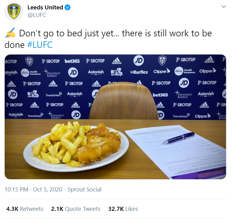 Leeds United deliver light hearted response to a rival football fan after their new player was criticised for moving to the 'fish and chips' country